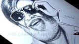 How to Draw Super Star Rajinikanth Detailed Drawing Step by Step from Kabali movie